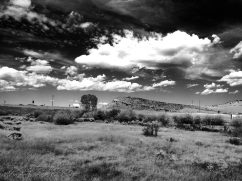 Black and white version of typical western Wyoming landscape.