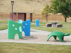 Kids' playground next to rest area, Very pretty, except for the rattlers.